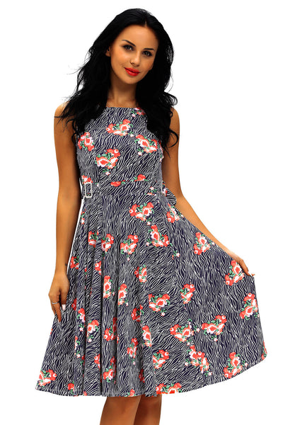 Chicloth Flared Sleeveless High Waist Floral Vintage Dress with Belt