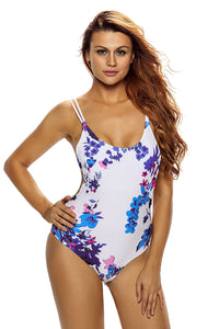 Chicloth Floral Backless Lace up Monokini