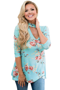 Chicloth Floral Choker Top in Mint