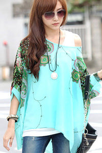 Chicloth Floral Detail Batwing Sleeve Loose-Fitting Blue Chiffon Blouse
