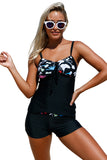 Chicloth Floral Detailing Bandeau Tankini & Shorts 2pcs Swimsuit