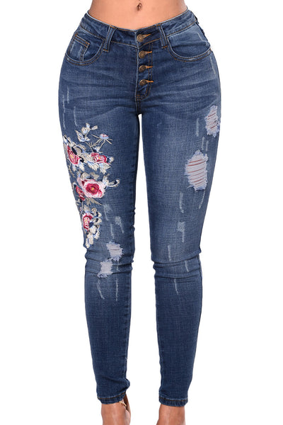 Chicloth Floral Embroidered Whisker Detail Skinny Jeans