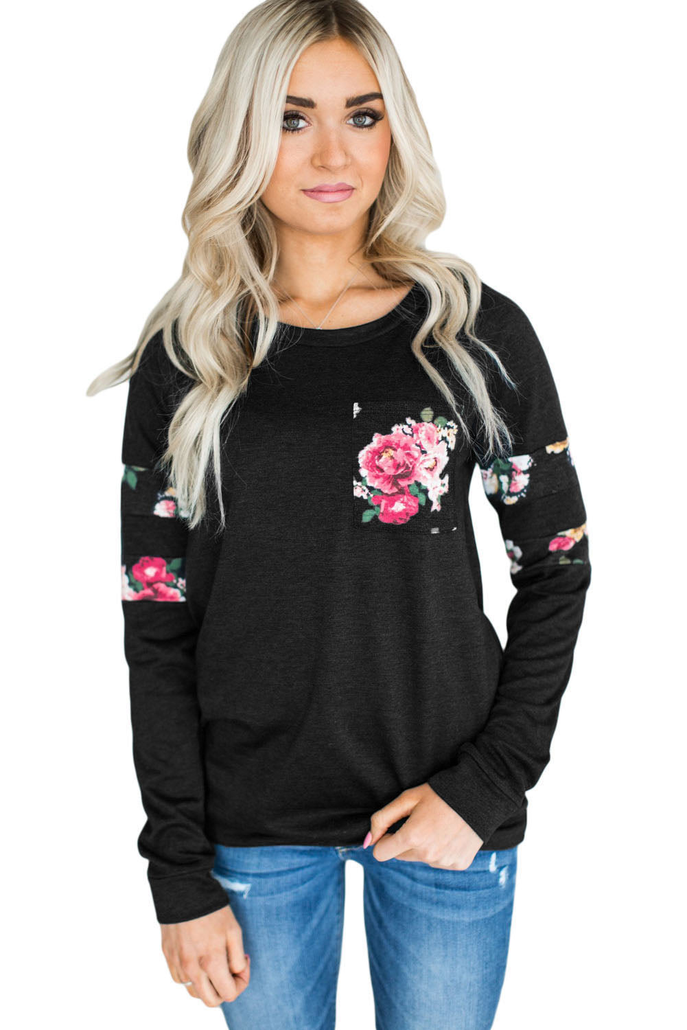 Chicloth Floral Patch Accent Black Sweatshirt - M / Black