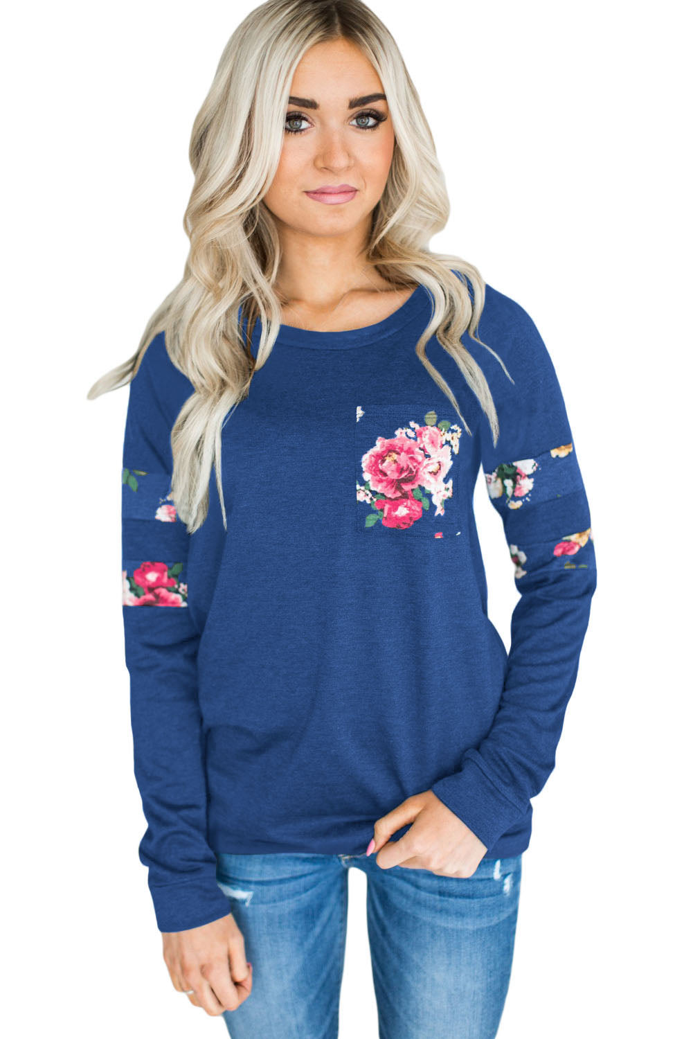 Chicloth Floral Patch Accent Navy Sweatshirt - M / Blue