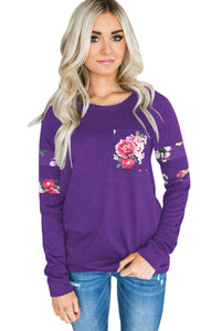 Chicloth Floral Patch Accent Purple Sweatshirt