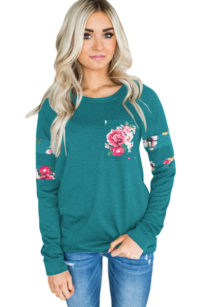 Chicloth Floral Patch Accent Turquoise Sweatshirt