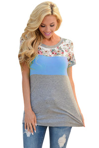 Chicloth Floral Print Blue Gray Colorblock T-shirt
