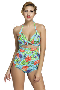 Chicloth Floral Print Bluish Retro High Waist 2 Pieces Swimsuit