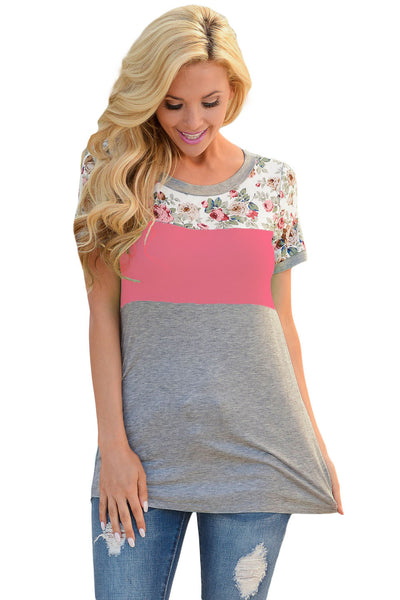 Chicloth Floral Print Pink Gray Colorblock T-shirt
