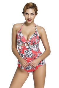 Chicloth Floral Print Reddish Retro High Waist 2 Pieces Swimsuit