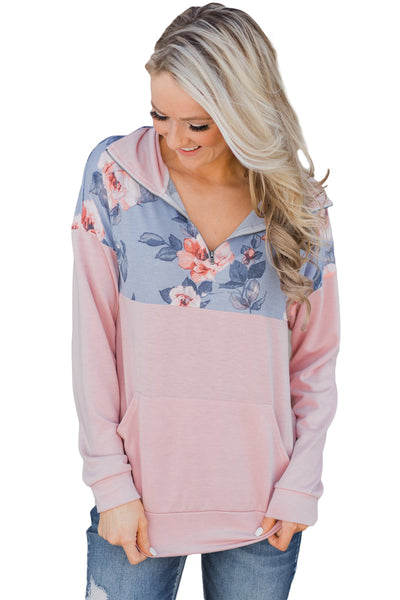 A| Chicloth Floral Splice Pink Kangaroo Pocket Zip Collar Sweatshirt-Coats-Chicloth