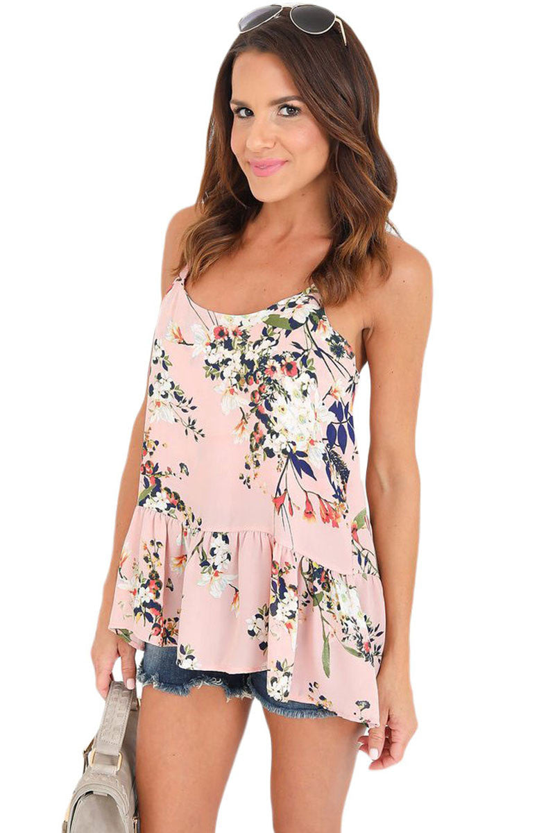 Chicloth Flounced Pink Floral Racerback Tank - 2XL / Pink