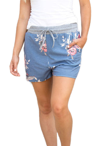 Chicloth Flush Floral Print Blue Casual Shorts