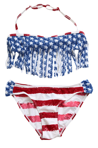 Z| Chicloth Fringed American Flag Bikini Swimsuit for Girls