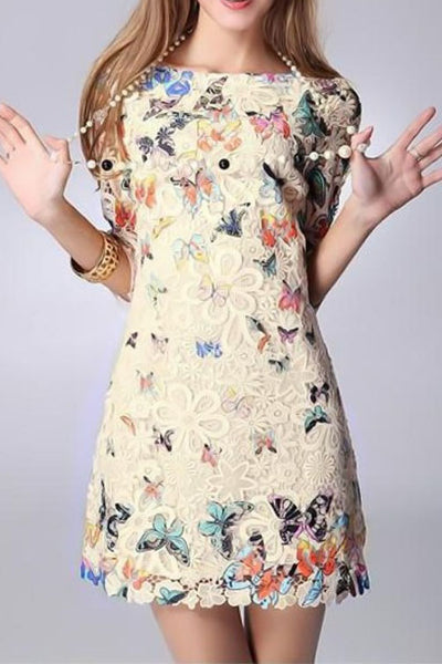 B| Chicloth Elegant Colorful Butterfly Print Half Sleeve Mini Lace Dress-Chicloth