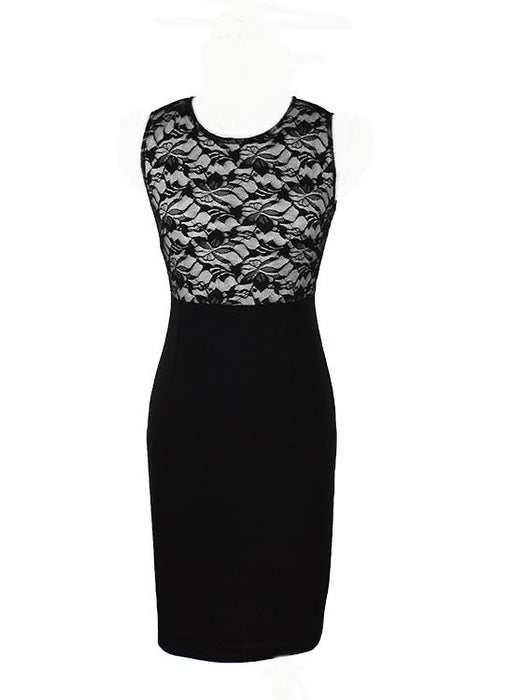 B| Chicloth Vintage Floral Lace Patchwork Color Block Sleeveless Black Pencil Dress-Chicloth