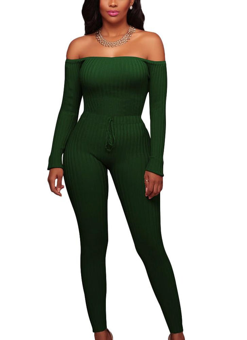 Chicloth Women Off the Shoulder Knitted Jumpsuit Long Sleeve Drawstring Waist Bodycon Rompers-Chicloth