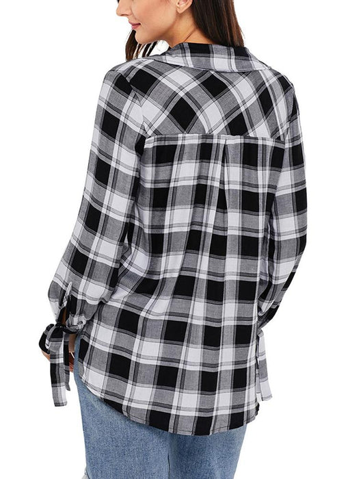 A| Chicloth Women Casual Plaid Shirt Checked Print Bandage Loose Blouse Tops-Chicloth