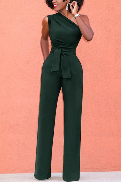 Chicloth One Shoulder Casual Jumpsuit Sleeveless Wide Leg High Waist Solid Rompers-Chicloth