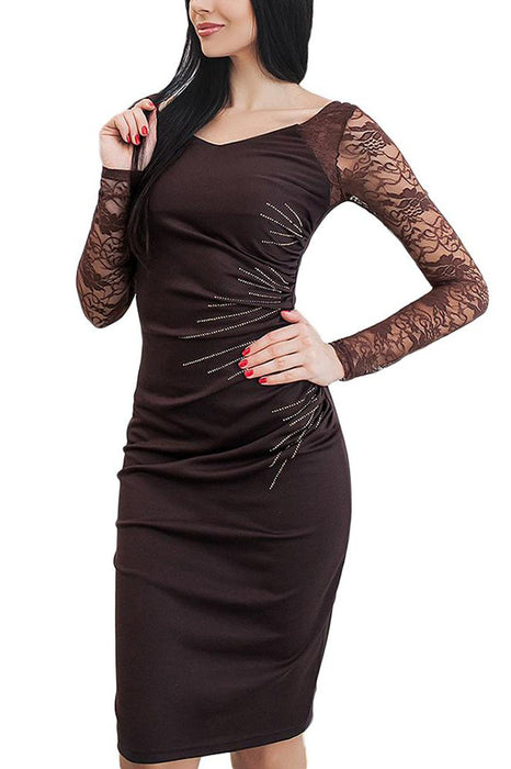 B| Chicloth Lace Sleeves Ruched Side Back Slit Pencil Dress-Chicloth