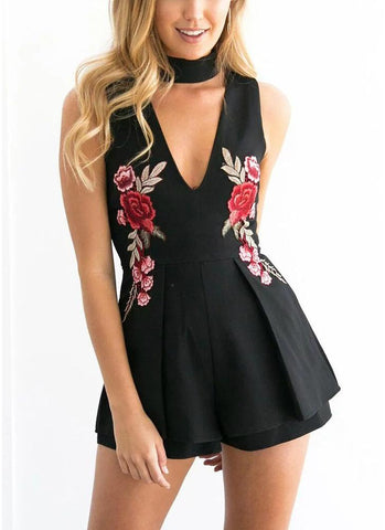 A| Chicloth Floral Embroidery High Chocker Deep V Neck Sleeveless Zipper Playsuit