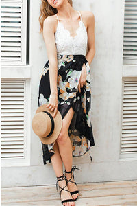 B| Chicloth Crochet Lace Floral Chiffon Spaghetti Strap Cross Over Sleeveless Backless One-Piece Dress