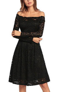 C| Chicloth Vintage Lace Off the Shoulder Long Sleeve A Line Pleated Dress-Chicloth