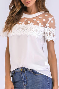 A| Chicloth Women Chiffon Blouse Sheer Mesh Floral Crochet Lace Polka Dot Solid Tops