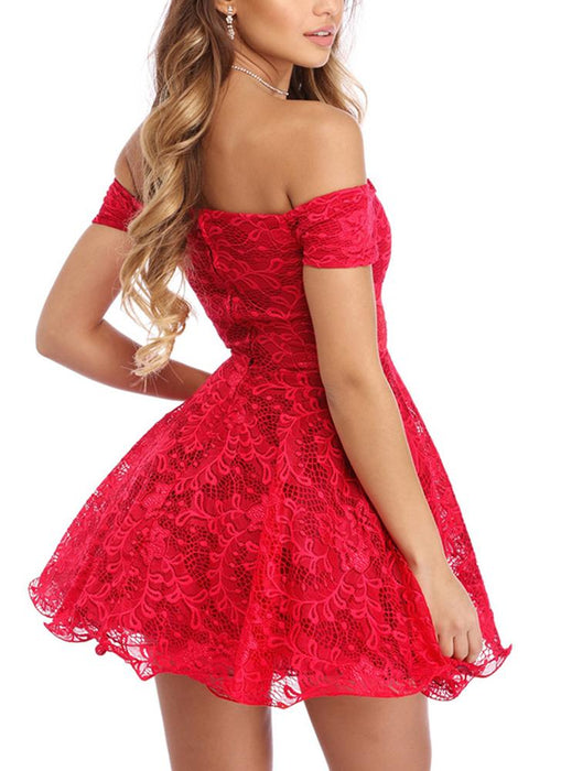 B| Chicloth Lace Skater Off the Shoulder Short Sleeves High Waist Padded Cups Dress-Chicloth