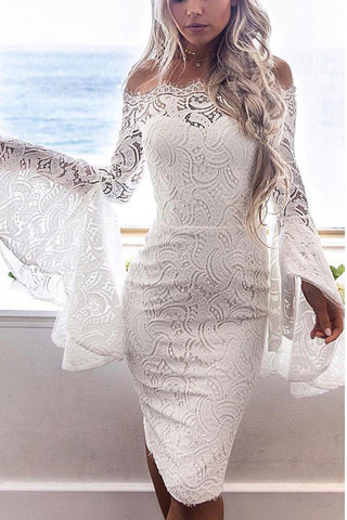 C| Chicloth Lace Off the Shoulder Flare Long Dress Summer Sleeves Bodycon Mini Dress-Chicloth