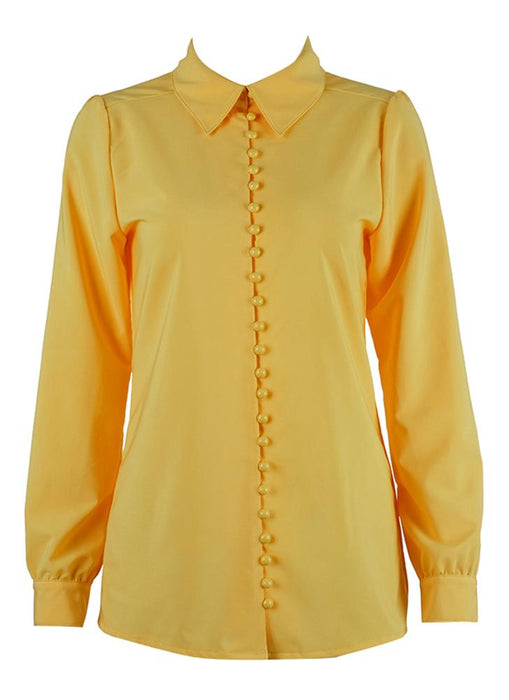 A| Chicloth Solid Turndown Collar Long Sleeve Button Front Casual Blouse-Chicloth