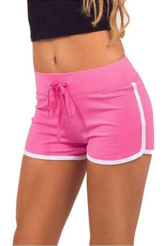 Chicloth Fashion Contrast Binding Side Split Elastic Waist Sports Yoga Shorts