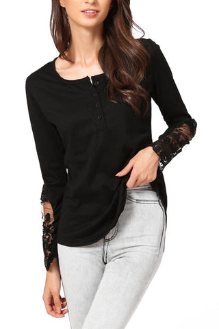 A| Chicloth Casual Stitching Lace Mesh Splicing Women's Long Sleeve T-Shirt