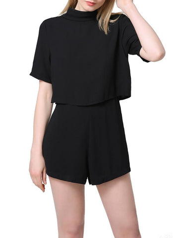 A| Chicloth Elegant Cut Out Backless Turtleneck Short Sleeve Solid Chiffon Black Rompers