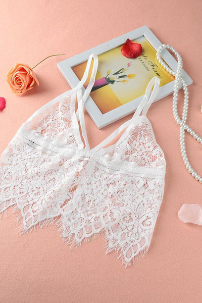 A| Chicloth Sexy Sheer Lace Mesh Tassel Hollow Out Adjustable Strap Bralette Cami-Chicloth