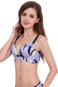 A| Chicloth Sexy Contrast Geometric Print Lace Back 3/4 Cup Padded Push Up Bra
