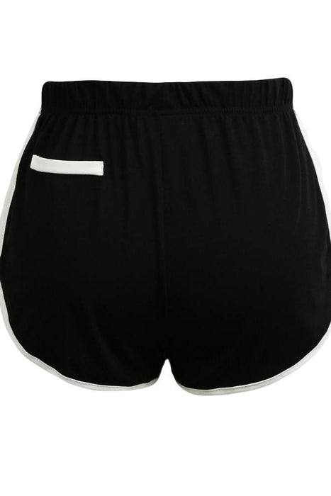 Chicloth Women Contrast Hot Pockets Elastic Waistsports Shorts-Chicloth