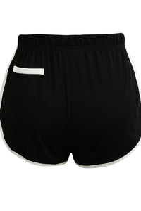Chicloth Women Contrast Fake Pockets Elastic Waistsports Shorts