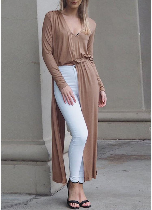 A| Chicloth Sexy Women Split Barelegged V Neck Long Sleeve Long Clubwear Party Blouses-Chicloth