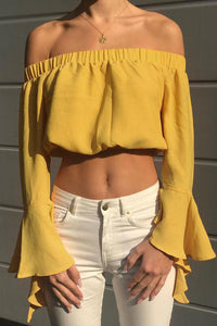 A| Chicloth Women Casual Off the Shoulder Crop Ruffles Bell Long Sleeves Elastic Slash Neck Shirts-Chicloth