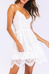 B| Chicloth Sexy Women Spaghetti Strap Lace Mini Dress Deep V Backless Lace Up Clubwear Party Dress White