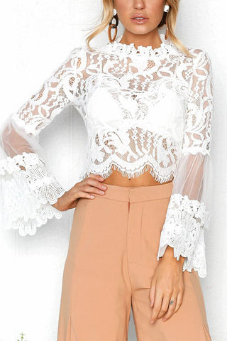A| Chicloth Sexy Women Floral Lace Flared Sleeve Transparent Mesh Long Sleeve Blouse