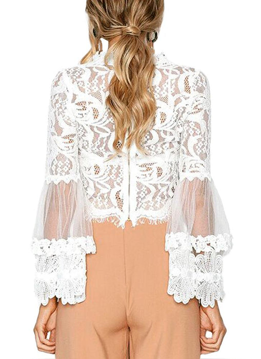 A| Chicloth Sexy Women Floral Lace Flared Sleeve Transparent Mesh Long Sleeve Blouse-Chicloth