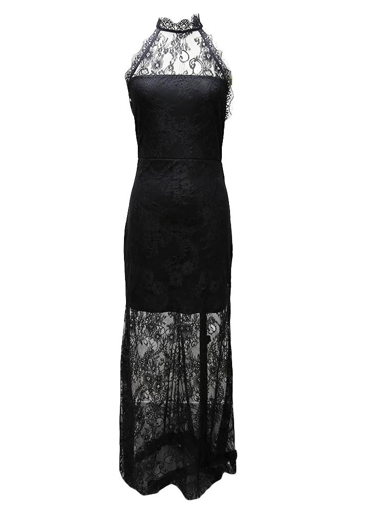 C Chicloth Women Allover Lace Maxi Dress Lined Sleeveless Open Back Z