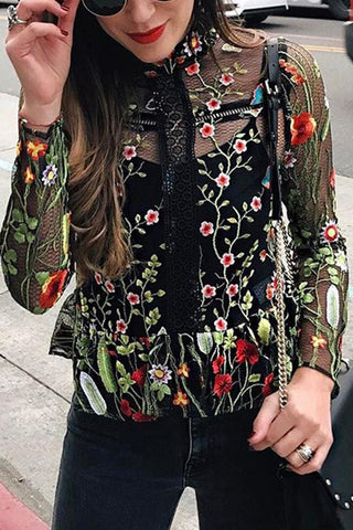 A| Chicloth Women Mesh Floral Embroidery RuffleTransparent Sheer Top
