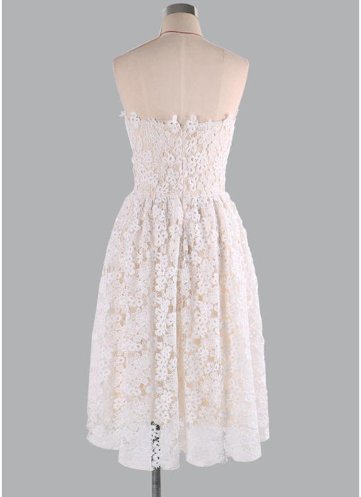 C| Chicloth Floral Lace StraplessTube Flare Women Skater Dress-Chicloth