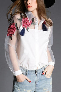 A| Chicloth Vintage Women Applique Floral Button Organza Splicing Sleeves Shirt