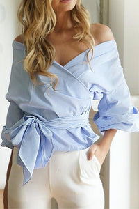 A| Chicloth Striped Cross Front Off Shoulder Zipper Side Belt Loose Blouse-Chicloth
