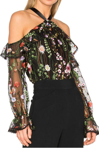 A| Chicloth Floral Embroidered Sheer Cold Shoulder Halter Top