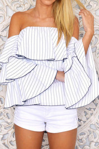 A| Chicloth Striped Off Shoulder Flounce Blouse